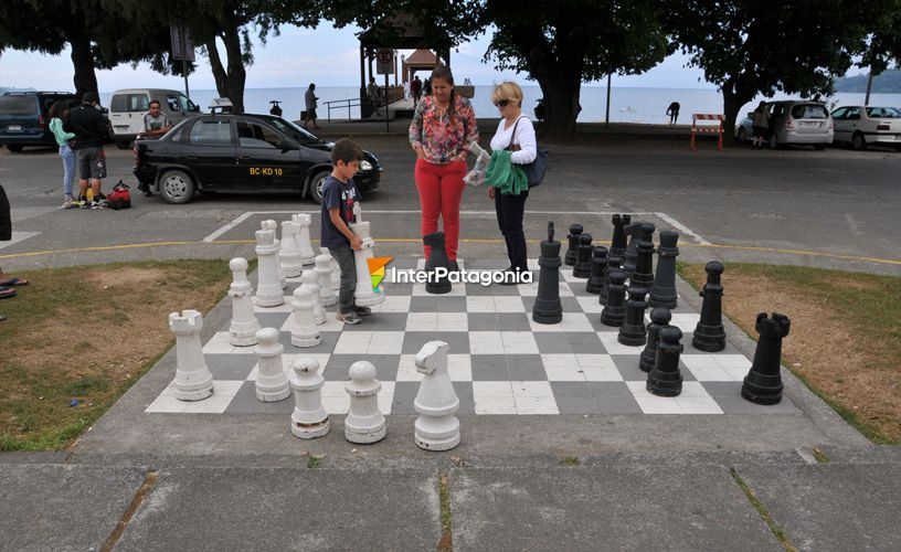 Enjoying a chessboard painted on the ground