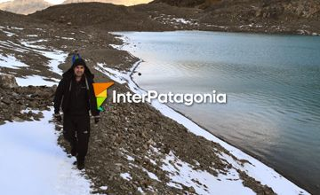 Walking to the lagoon of the floes and the glacier Vinciguerra